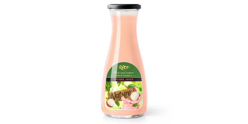 Fruit juice lychee 1L Glass bottle pure and natural